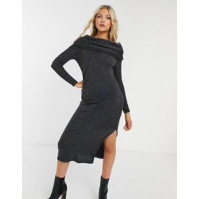 トップショップ レディース ワンピース トップス Topshop off-the-shoulder mini dress in charcoal Charcoal