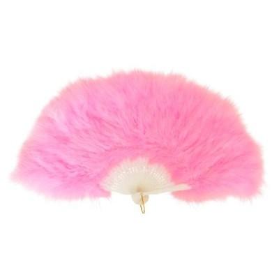クリアストーン ふわふわ羽扇子 ピンク