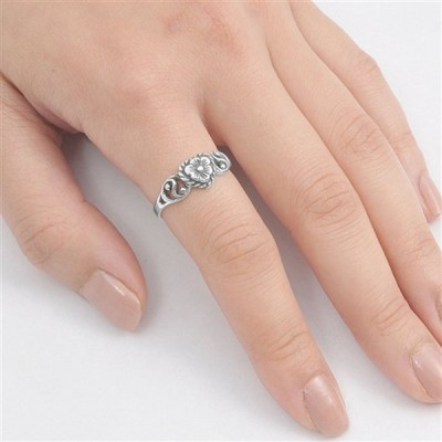 Antiqued Flower Heart Promise Ring New .925 Sterling Silver Band Size