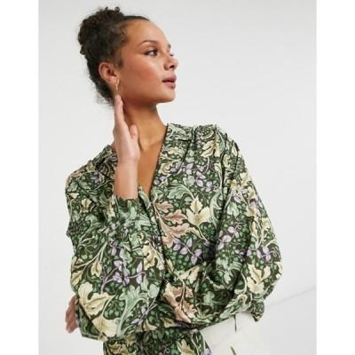 モンキ レディース シャツ トップス Monki Natalie blouse in leaf print