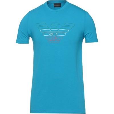 アルマーニ EMPORIO ARMANI メンズ Tシャツ トップス t-shirt Turquoise