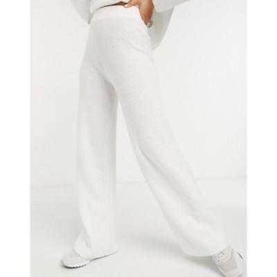 エイソス レディース カジュアルパンツ ボトムス ASOS DESIGN co-ord wide leg pants in rib in cream
