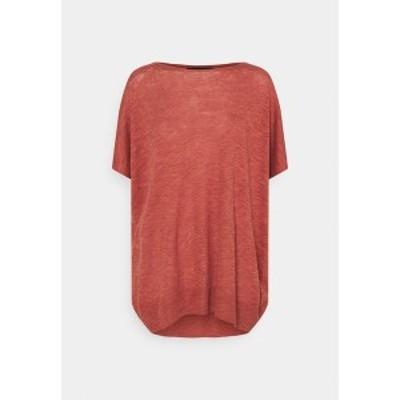 ヴェロモーダ レディース Tシャツ トップス VMFLYSTA OVERSIZE BLOUSE - Basic T-shirt - marsala melange marsala melange