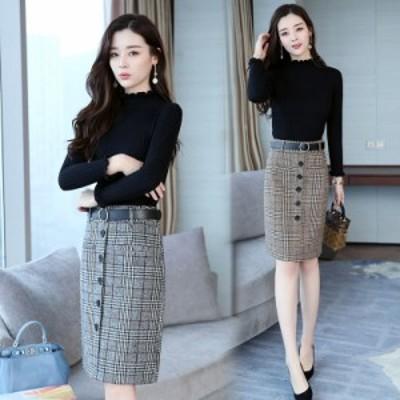スカートセーター チェック ひざ下丈 オフィス カジュアル セット 大きいサイズ #2331