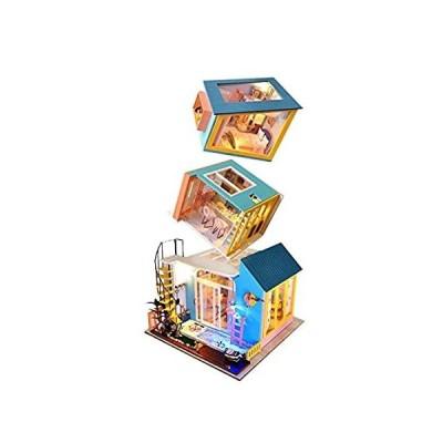 特別価格XLZSP DIY Dollhouse Miniature Kit 3 in 1 Living Room Kitchen Bedroom Dolls 好評販売中
