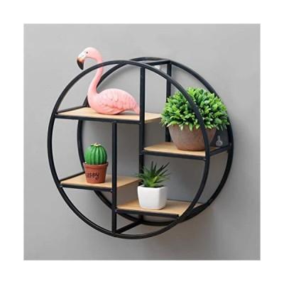 JLiuYi New Chinese Zen Antique Wall Shelf, 4-Layer Metal Display Shelf Round Wall Storage Shelf, Decorative Shelf Suitable for Living Room,