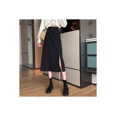 【送料無料】秋冬 気質黒 スカート 分割スカート ミディ丈 女 ハイウエスト 言 | 364331_A64201-2769207