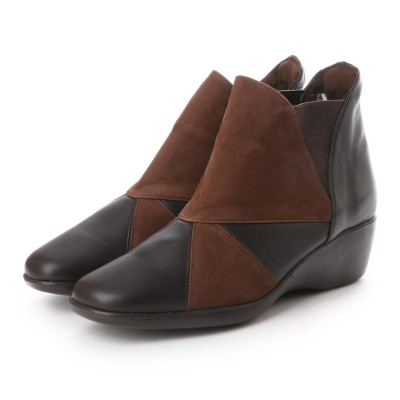 ジェイエスハートレーベル JS HEART LAVEL 異素材コンビ幅広軽量ブーツ (ダークブラウン)