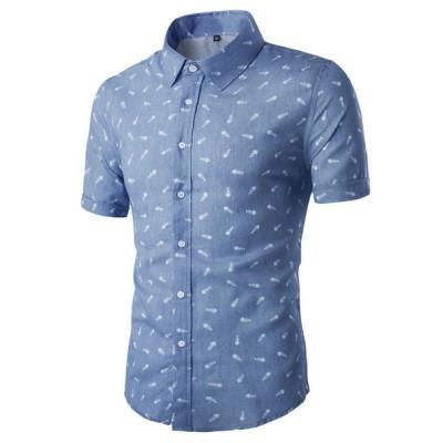 uxcell メンズ シャツ 半袖 ボタンダウン 綿 ビジネス カジュアル ブルー 50