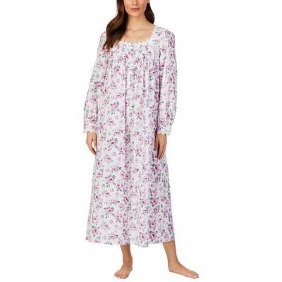 エイレーンウェスト ナイトウェア アンダーウェア レディース Cotton Lawn Woven Long Sleeve Ballet Gown White Ground/Rose