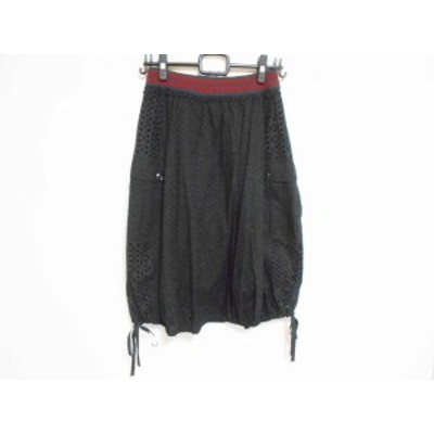 アンダーカバー UNDER COVER ロングスカート サイズ1 S レディース 美品 - 黒×ネイビー×レッド レース【中古】20201013