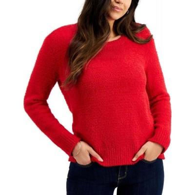 スタイル&コー Style & Co レディース ニット・セーター トップス Petite Plush Crewneck Sweater Infrared