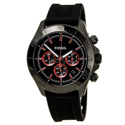 腕時計 フォッシル メンズ CH2874 Fossil Retro Traveler Chronograph Silicone Watch - Black Ch2874