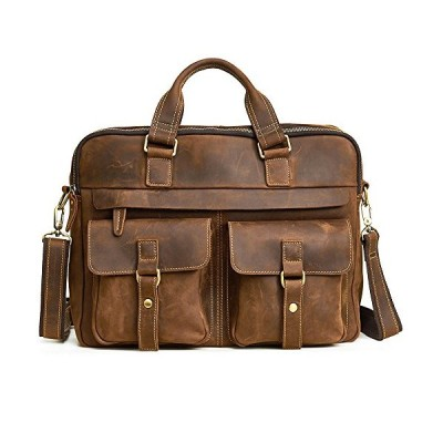 Acecle 4 Colors Available Leather Vintage Briefcase 15.6 16 Inch Laptop Bag High Quality Cowhide Crazy Horse Leather Handcrafted Multi-Function Busine