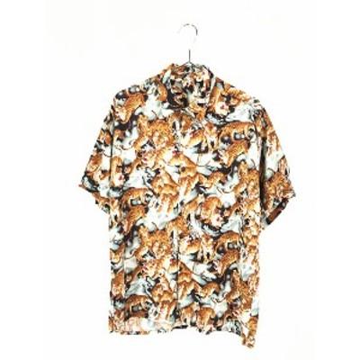 古着 90s 虎 タイガー アート 開襟 ボックス 半袖 レーヨン シャツ 柄シャツ M 古着