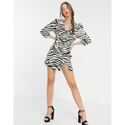 リクオリッシュ レディース ワンピース トップス Liquorish mini dress with 3/4 length sleeves in zebra print