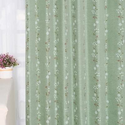Baibu Home カーテン 花柄 グリーン 幅100cm×丈178cm 2枚組 2級遮光 ドレープ 遮光 カーテン おしゃれ