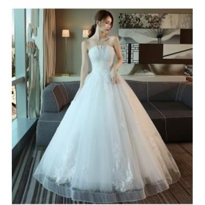 新作 ウェディングドレス ビスチェ  Aライン 白 結婚式 披露宴 撮影  ベール パニエ グローブプレゼント付 オーダーサイズ可 H027b