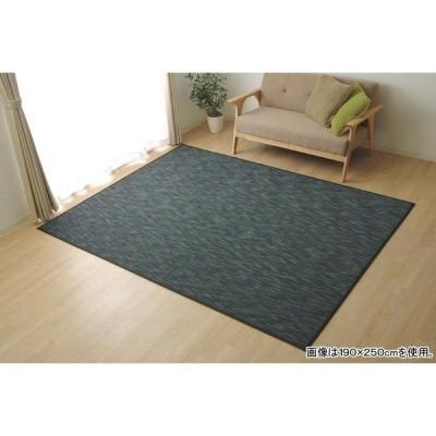 バンブー ラグマット/絨毯 〔ブラック 約95×150cm〕 竹製 無地 抗菌作用 高耐久性 〔リビング〕