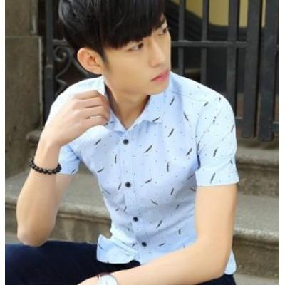 夏新品人気メンズファッション/メンズ半袖 韓国スタイル/スリム/レジャー/ストライプ/白シャツ/ カジュアルシャツ/ワイシャツ