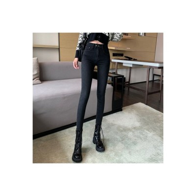 【送料無料】ハイウエストのジーンズ 女 年 フリース パンツ 着やせ タイト  ペン   346770_A64461-9775501