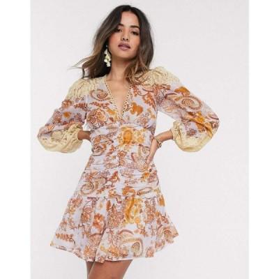 エイソス ASOS DESIGN レディース ワンピース Asos Design Lace Insert Shirred Waist Skater Mini Dress In Paisley Print ペイズリープリント