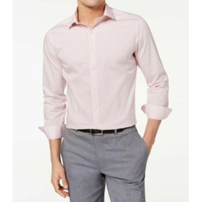 care ケア ファッション ドレス Bar III NEW Pink Mens Size XL (17- 17 1/2) Easy Care Slim Dress Shirt
