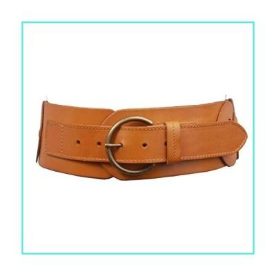 """【新品】Ladies 3"""" (75 mm) Wide High Waist Round Disk Linked Braided Cowhide Top Full Grain Leather Belt, Light Tan   L - 40(並行輸入品)"""