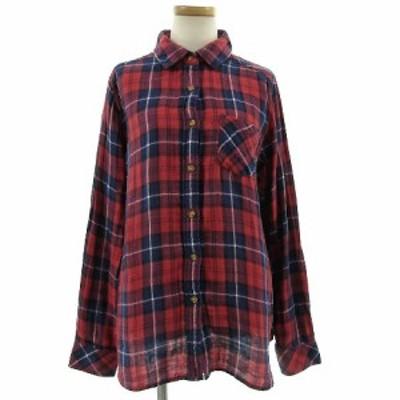 【中古】バックナンバー BACK NUMBER シャツ ガーゼ素材 長袖 コットン チェック 赤 レッド 紺 ネイビー 白  黒 L レディース