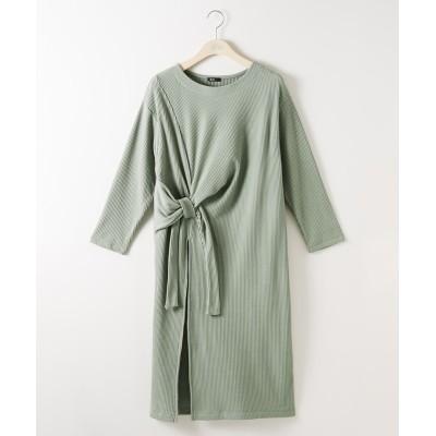 大きいサイズ アシメスリットリブワンピース ,スマイルランド, ワンピース, plus size dress