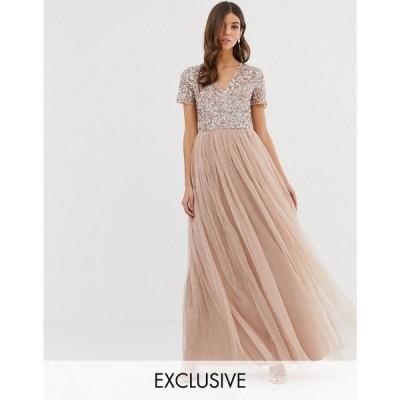 マヤ レディース ワンピース ワンピース・ドレス V Neck Maxi Tulle Bridesmaid Dress with Tonal Delicate Sequins Taupe blush