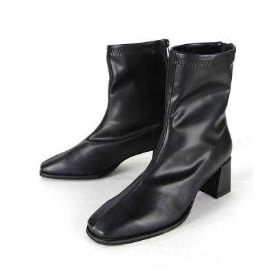 ブーツ スクエアトゥタイトショートブーツ ◆