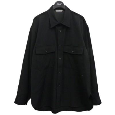 AURALEE 19AW「WOOL MAX GABARDINE SHIRT」1ウールマックスギャバジンシャツ ブラック サイズ:4 (渋谷神南店) 2