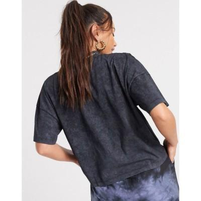 エイソストール レディース Tシャツ トップス ASOS DESIGN Tall boxy T-shirt with rib neck in washed black Gray