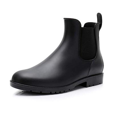 [J.M.K] レディース レインシューズ レインブーツ サイドゴア ブーツ ショートブーツ 防水 長靴 雨靴 (ブラック 22.5 cm)