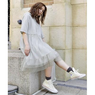 【ガーリードール】 スウェットチュールドッキングワンピース レディース グレー【短袖】 XL Girly Doll