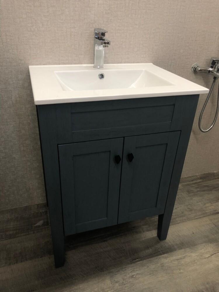 浴櫃 洗臉盆櫃 70cm 復古拉絲藍 盆櫃 ( 含 水龍頭 配件) pvc防水板材