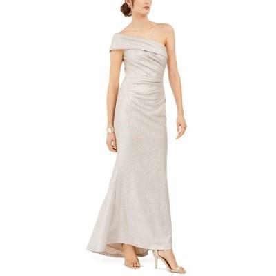 エリザジェイ ワンピース トップス レディース One-Shoulder Metallic Gown Champagne Silver