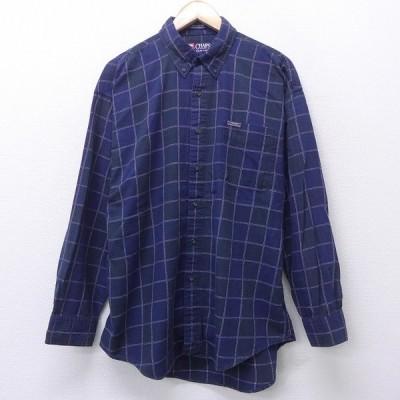 XL/古着 長袖 ブランド シャツ 90s ラルフ チャップス コットン ボタンダウン 紺 ネイビー チェック 21feb26 中古 メンズ トップス
