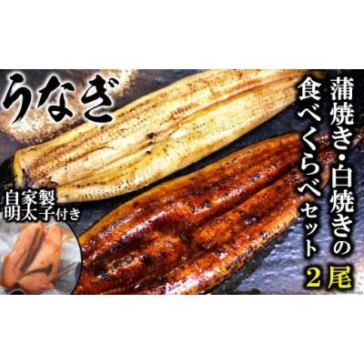 うなぎ蒲焼き・白焼きの食べくらべセット(170g×計2尾)、自家製明太子セット(80g×2)