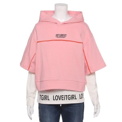 NARUMIYA ONLINE / 5分袖パーカー&裾ロゴ長袖Tシャツセット KIDS トップス > パーカー