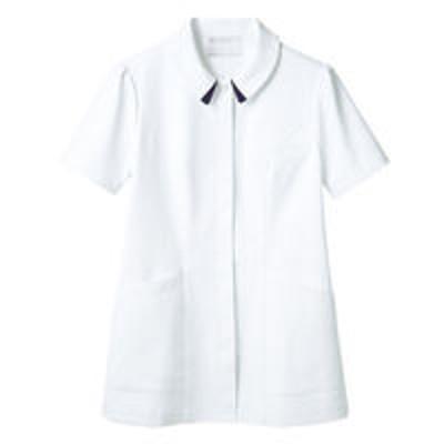 住商モンブラン住商モンブラン ナースジャケット(半袖) 医療白衣 レディス 白/ネイビー L 73-1868(直送品)