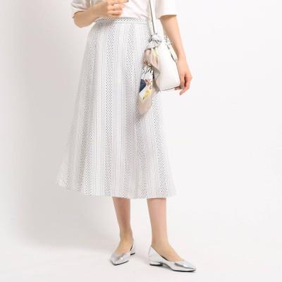 インディヴィ INDIVI 【マシンウォッシュ】アソートプリントロングスカート (ホワイト)