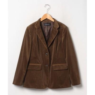 【ラピーヌ ルージュ】 インポート素材 フレンチコールテーラードジャケット レディース ブラウン 44 LAPINE ROUGE