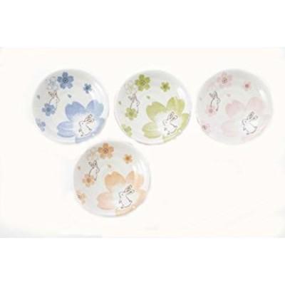 カネセ 美濃焼 夢桜うさぎ取り小皿(4色×2枚) 約径12×高2.3cm 白、青、ピンク、黄緑、オレンジ