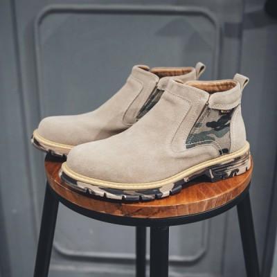 新作マーチンブーツブーツ革靴紳士靴牛革本革防滑ソールレジャー靴ショートブーツカジュアルメンズワークブーツマーティンブーツスエード迷彩柄厚底ハイカット