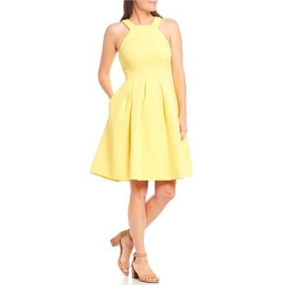 アレックスマリー レディース ワンピース トップス Monica Halter Sleeveless Sleeveless Pleated Fit-and-Flare Dress