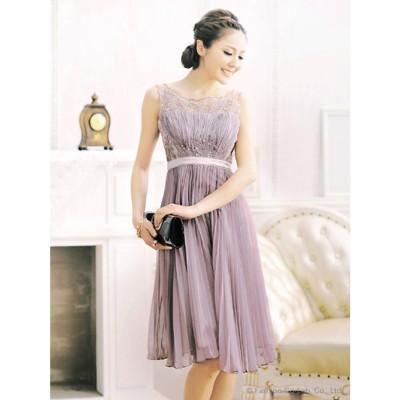 プリーツシフォンワンピースドレス(S~XL) (ローズグレー)