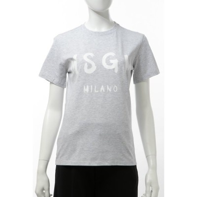エムエスジーエム Tシャツ 半袖 丸首 クルーネック レディース 2841MDM60207296 グレー 2020年春夏新作 MSGM