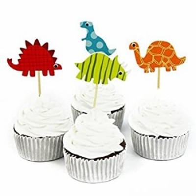 【中古】【輸入品 未使用 】48 Pcs Dinosaur Cupcake Picks Cupcake Topper